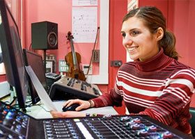 Music Tech student in studio