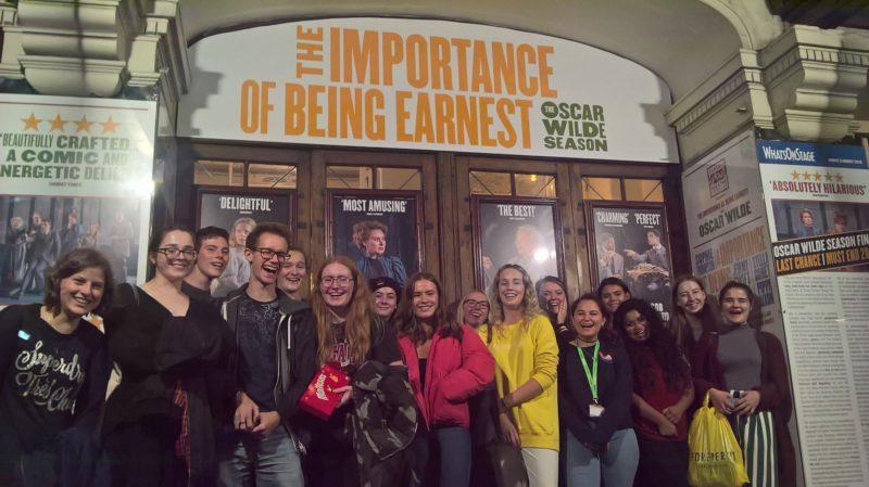 English Literature students outside the Vaudeville Theatre.