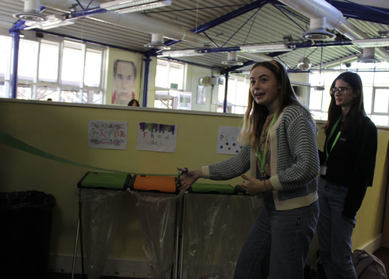 SU Environment Officer Lucy Acheson cutting the ribbon, pictured with SU Administrator Charlotte Case-Green
