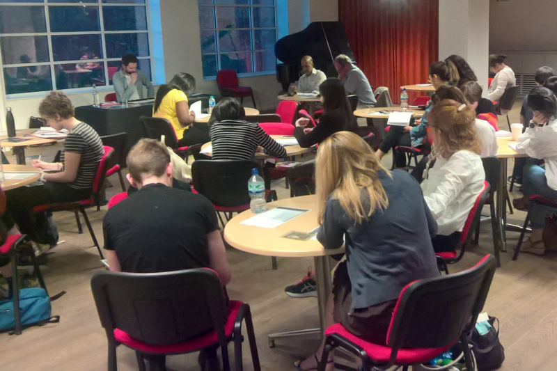 College students at the short-story writing workshop, London