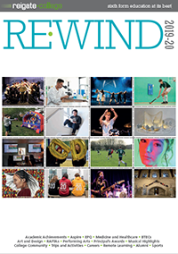Cover of Re-Wind magazine, 2019-2020 with 16 photographs of students