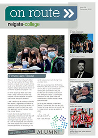 Cover of On Route newsletter December 2020, showing message from the Principal and 5 photographs of students.