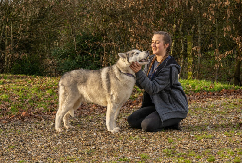 Amy Sanders with a dog