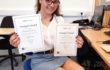 Teodora Grancea with her Principal's Award certificates