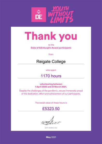 Duke of Edinburgh volunteering hours certificate